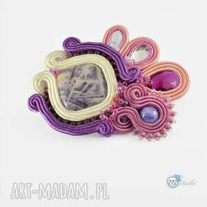 unikalne broszki sutasz różowo -fioletowa broszka