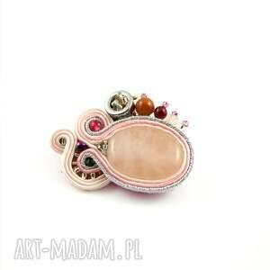 broszki broszka różowo-srebrna sutasz
