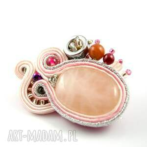 różowe broszki broszka różowo srebrna