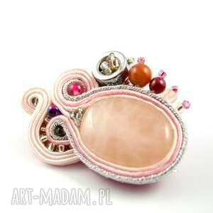 różowe broszki broszka różowo-srebrna sutasz