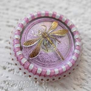 gustowne broszki ważka shiny buttons::dragonfly