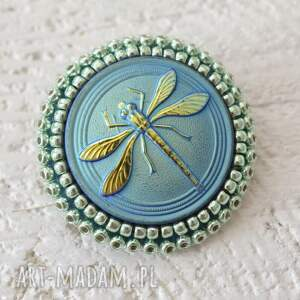 handmade broszki ważka shiny buttons::dragonfly