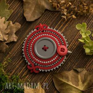czerwone broszki broszka stylowa sutasz z szarym
