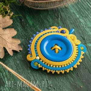broszka broszki sutaszowa z niebieskim