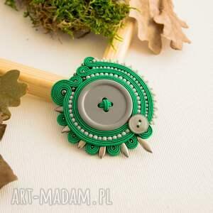 sutaszowa broszka broszki zielone w odcieniu