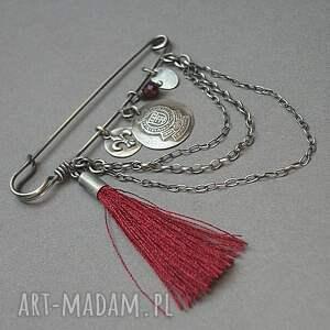 ręcznie wykonane broszki granat szlachecka -broszka