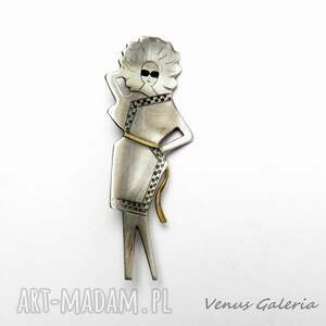 awangardowe broszki srebro szykowna dama - broszka srebrna