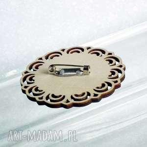 drewniana broszki beżowe turkusowa mandala :: unikatowa