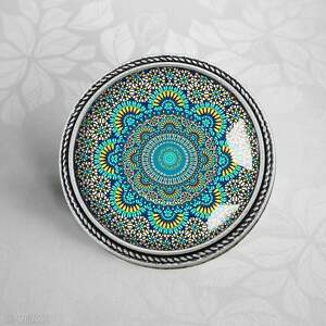 unikatowe broszki mandale turkusowa mandala - piękna broszka