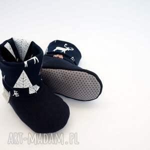 niebieskie buciki buty-antypoślizgowe bambosze z golfem / hand made