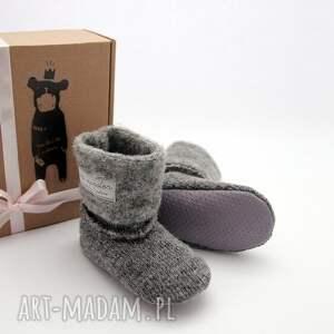 modne buciki ciepłe bambosze z golfem - hand made