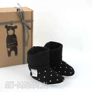 niepowtarzalne buciki groszki bambosze z golfem / handmade