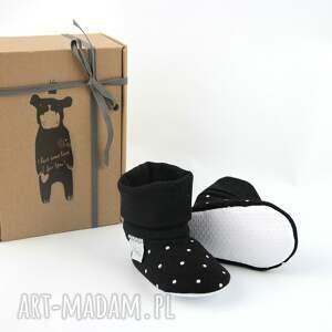 czarne buciki groszki bambosze z golfem / handmade