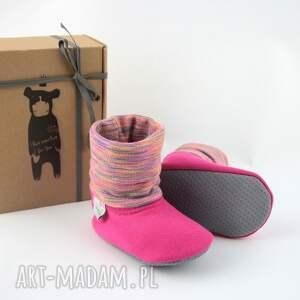 różowe buciki papcie bambosze z golfem / handmade