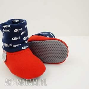 niebieskie buciki papcie-niemowlęce bambosze z golfem / hand made