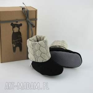 beżowe buciki papcie bambosze z golfem / hand made