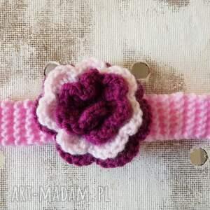 różowe buciki komplet z dużym kwiatuszkiem