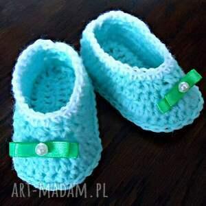 trendy buciki niemowlęce miętowe balerinki dla dziewczynki