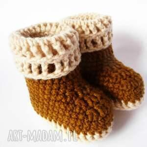 botki buciki szydełkowe brązowo -beżowe