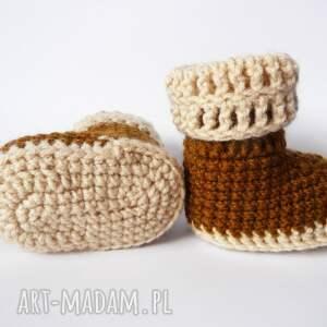 brązowe buciki szydełkowe brązowo -beżowe
