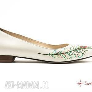 ręcznie robione buty ludowe baleriny pawie oko