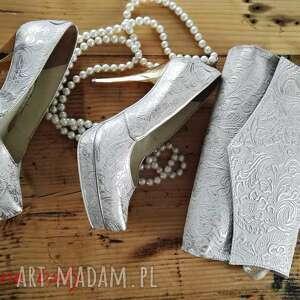 folk buty białe góralskie złoto srebrne szpilki
