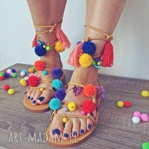 ręczne wykonanie buty sandały 36 - kolorowe rzymianki z pomponami