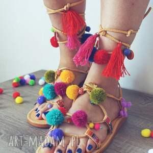 MroSoutache 39 - kolorowe rzymianki z pomponami w stylu boho - sandały
