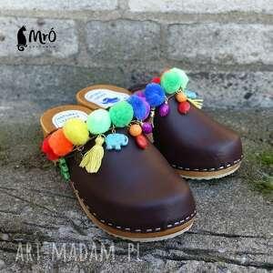 drewniaki buty 36 - niepowtarzalne tęczowe boho