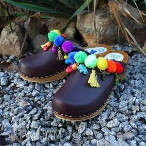 buty drewniaki 36 - niepowtarzalne tęczowe boho