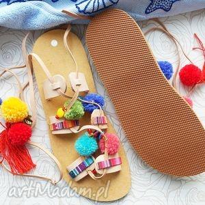 Rozm. 40 - kolorowe sandałki w stylu boho - rzymianki