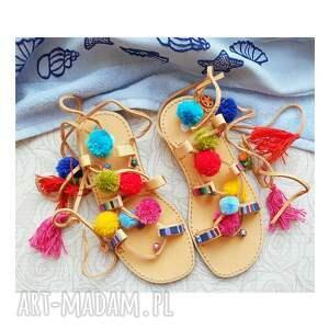 MroSoutache 37 - Sandały rzymianki z pomponami w stylu boho - ibizastyle