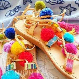 rzymianki buty 36 - sandały z pomponami