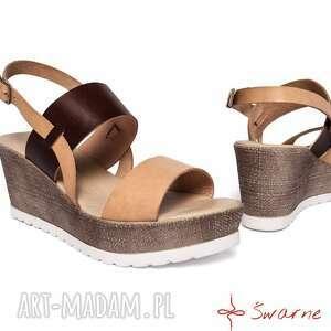 8ac82b625b34dc Swarne Buty Skórzane sandały na platformie - skóra platforma