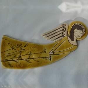 beżowe ceramika aniołek anioł ceramiczny - zlatna livada