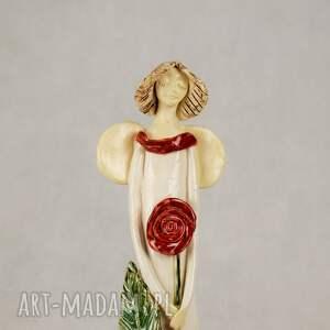 wyraziste ceramika anioł-ceramiczny anioł z różą artystyczna