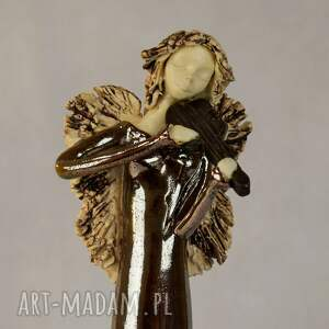 złote ceramika anioł-ceramiczny anioł ze skrzypcami
