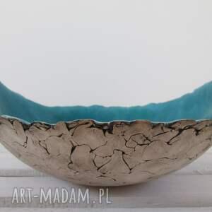 ręczne wykonanie ceramika ceramiczna artystyczna turkusowa misa jak