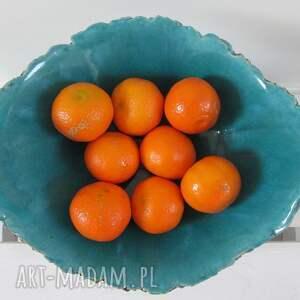 czarne ceramika misa artystyczna turkusowa jak