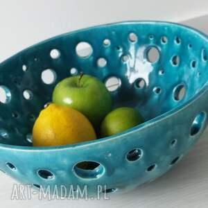 modne ceramika dekoracyjna ażurowa turkusowa maxi misa