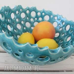 hand made ceramika miska ażurowa turkusowa misa