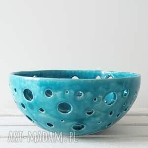 turkusowe ceramika dekoracyjna ażurowa turkusowa maxi misa
