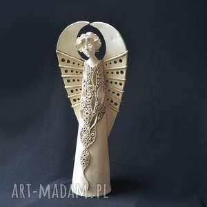 ceramika świecznik ażurowy anioł miran na tea-lighty