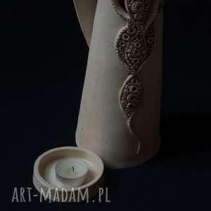 handmade ceramika anioł ażurowy miran na tea-lighty