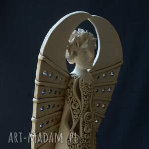 białe ceramika lampa ażurowy anioł miran na tea-lighty