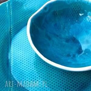 turkusowe ceramika talerz bubbles zestaw naczyń ceramicznych