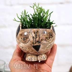 ceramika doniczka ceramiczna kot ręcznie