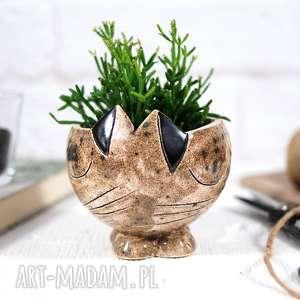 doniczka ceramiczna ceramika kot ręcznie
