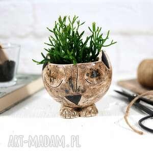 efektowne ceramiczna doniczka kot ręcznie
