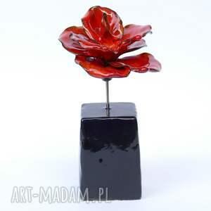 wyjątkowe ceramika dla niej ceramiczna róża czerwona